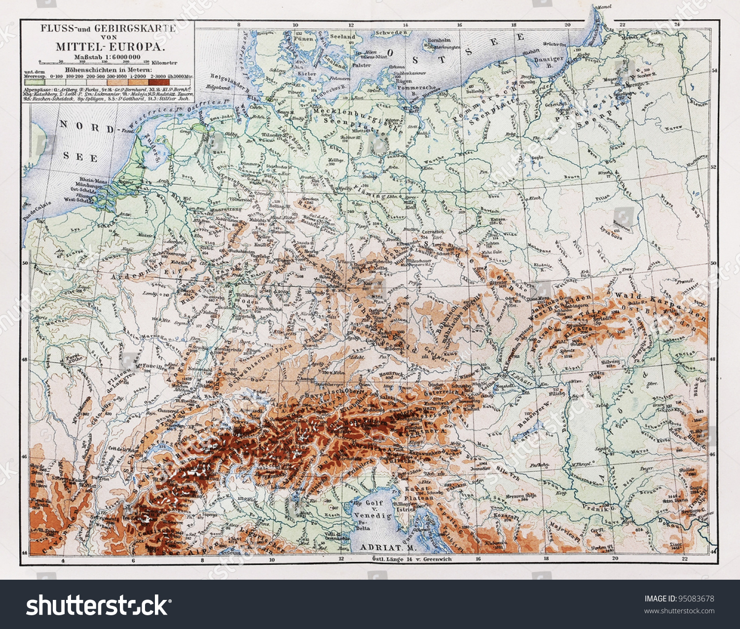 Vintage Map From Year Representing Stock Photo - Germany map 1900