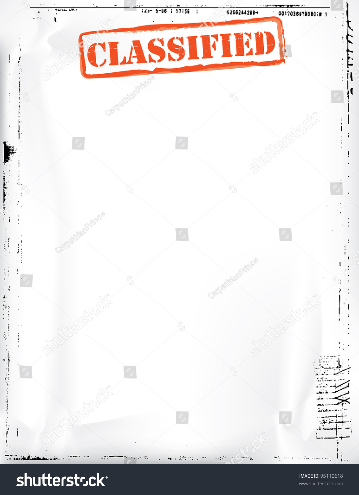 classified document template stock illustration 95110618