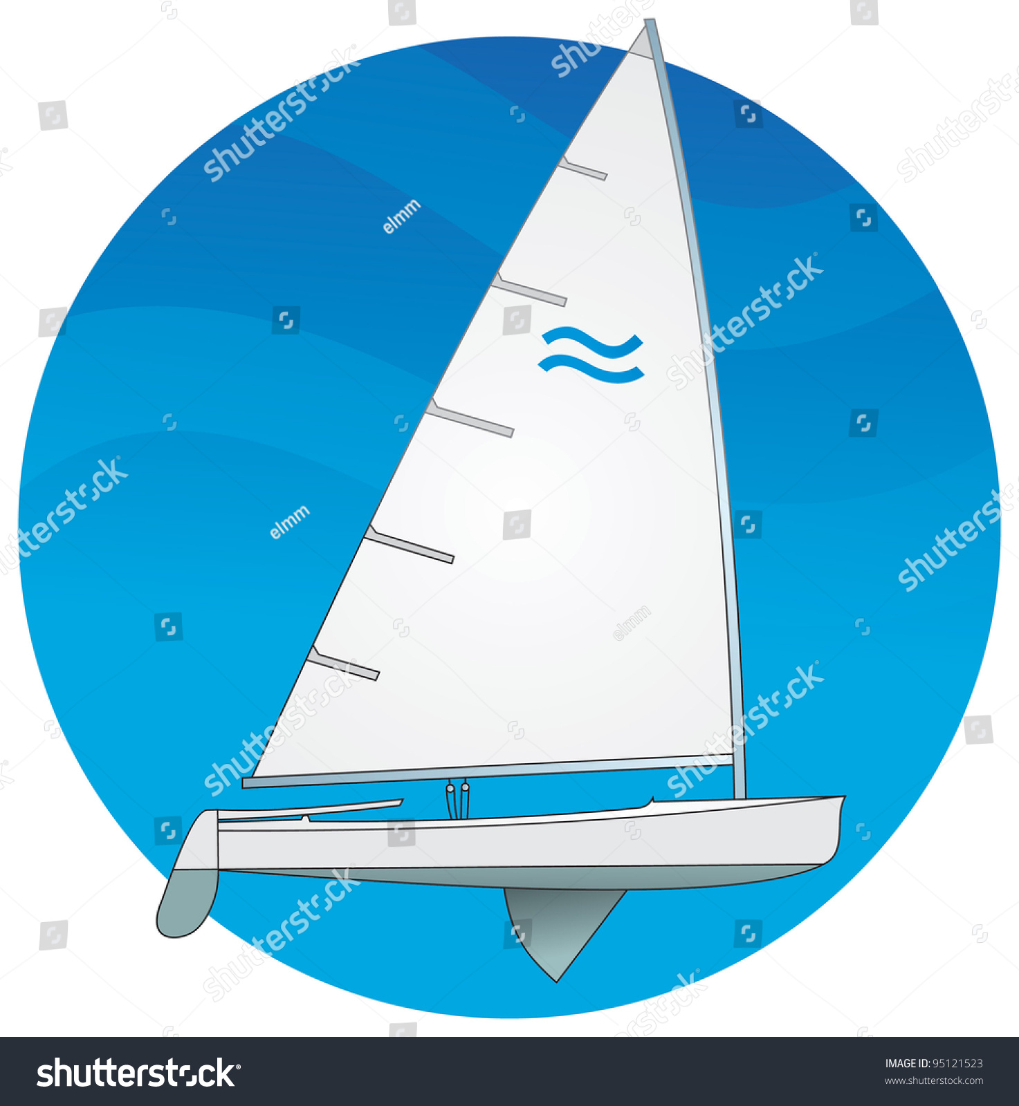Sailboat Dinghy Catboat Singlehanded Catrigged Sport Stock Vector