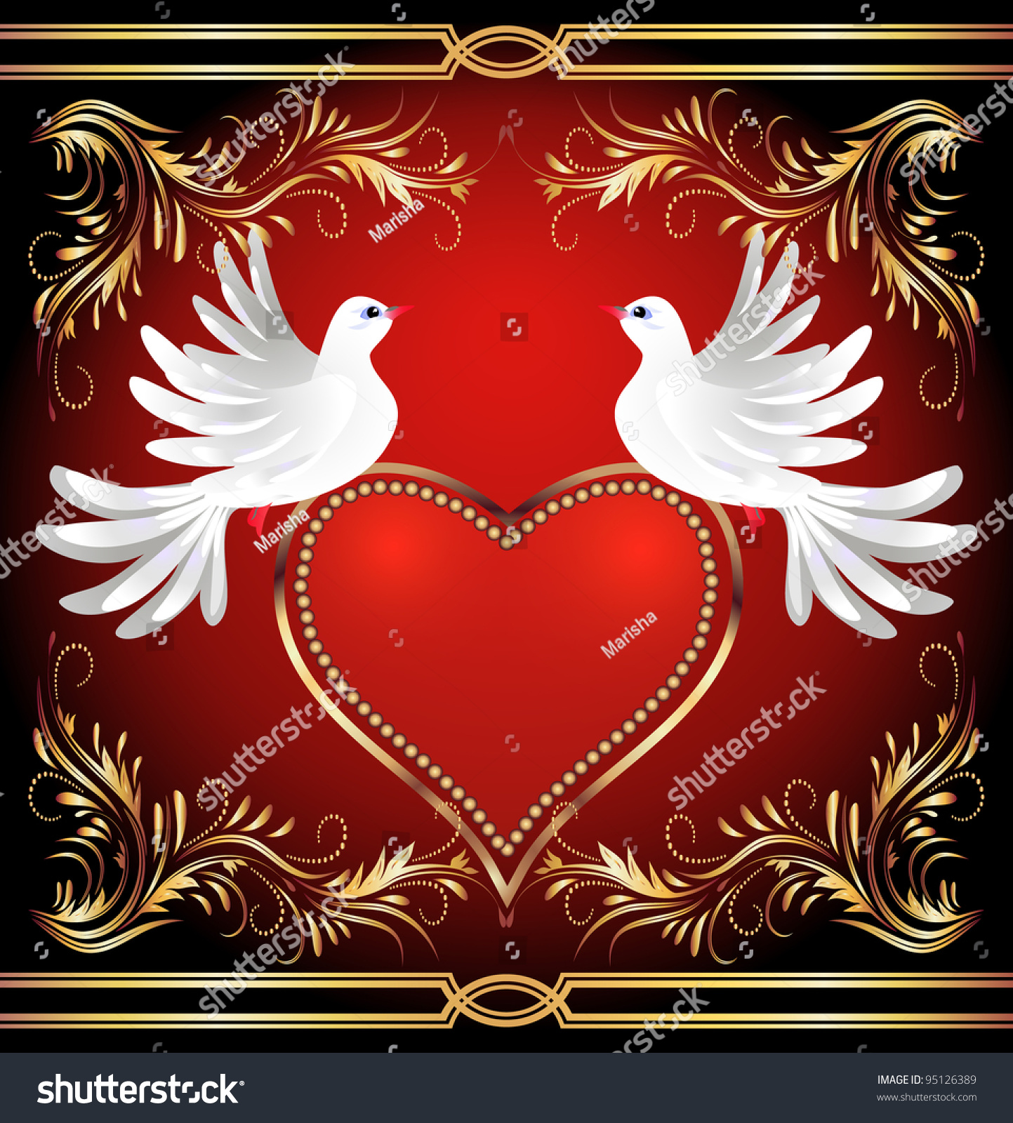 Two Dove On Red Background Heart Stock Vector (Royalty Free ...