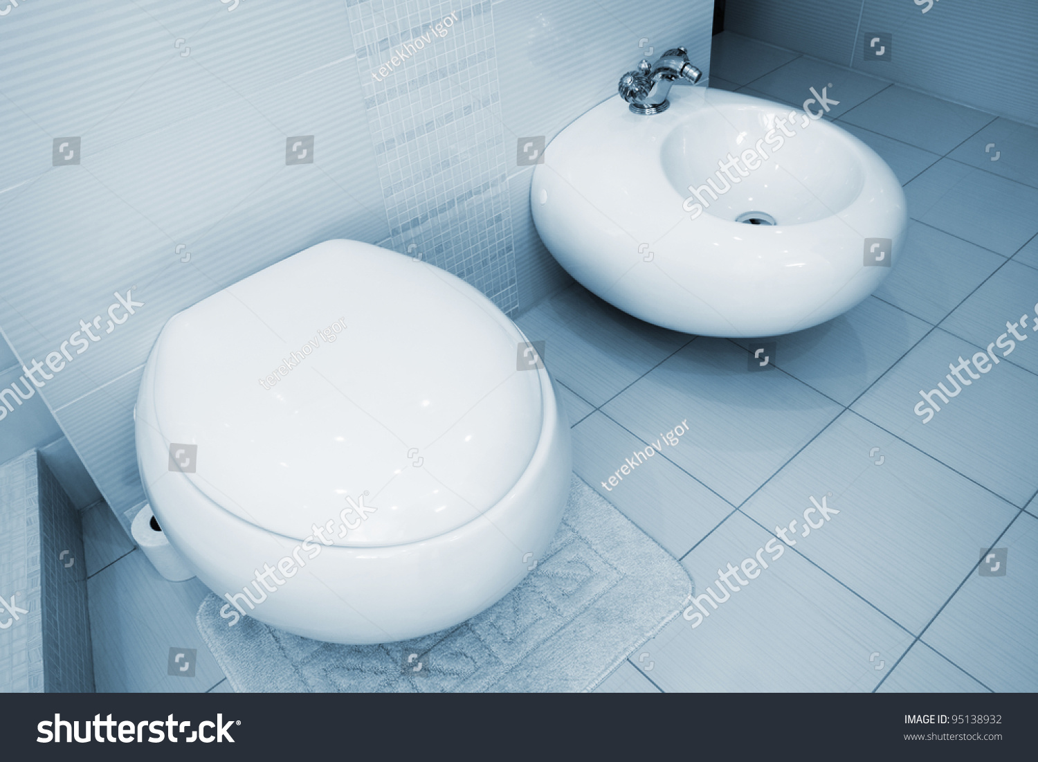 Wc and bidet in a beautiful bathroom stock photo 95138932 for Beautiful toilet
