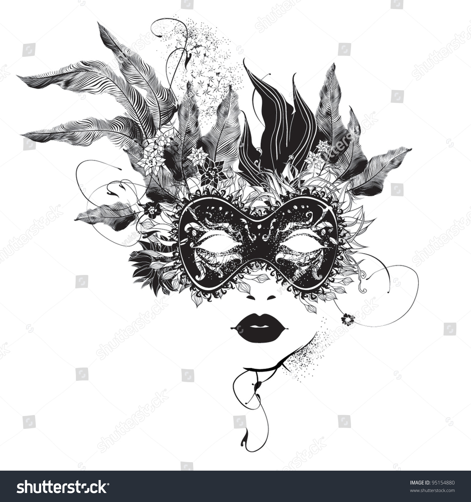 Painting Profile Black Woman White Mask Flowers In Hair
