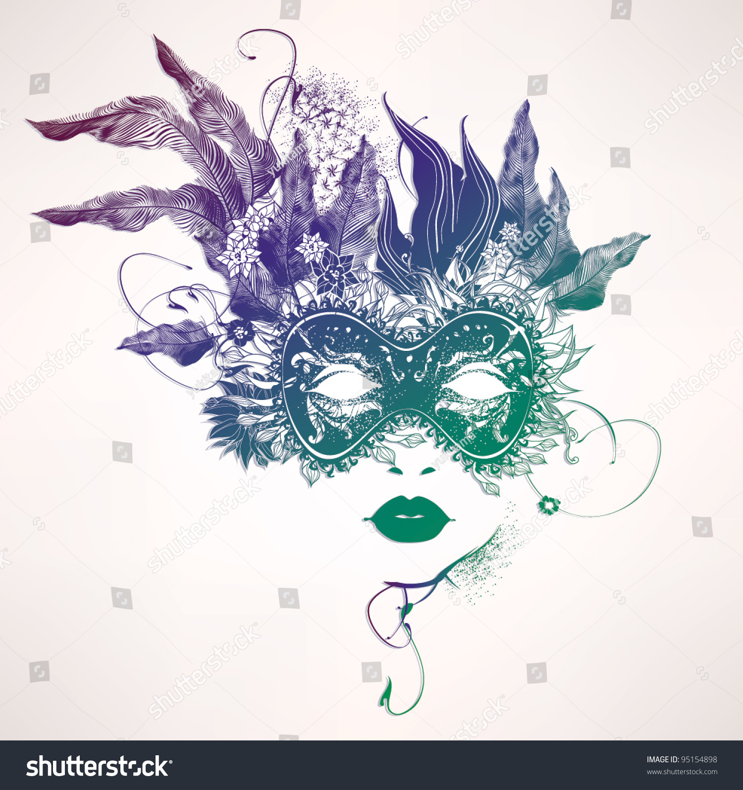 Abstract Woman Face Flowers Vector Fashion Stock Vector 95154898 ...
