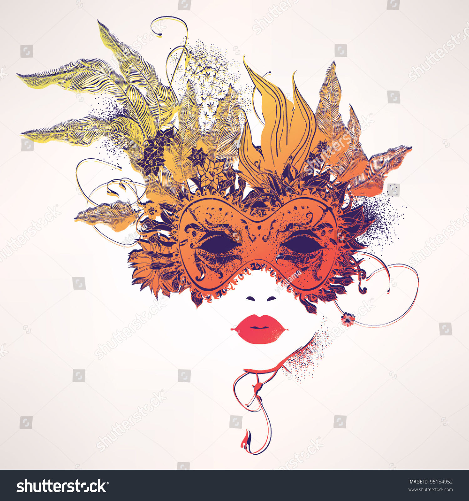 Abstract Woman Face Flowers Fashion Illustration Stock