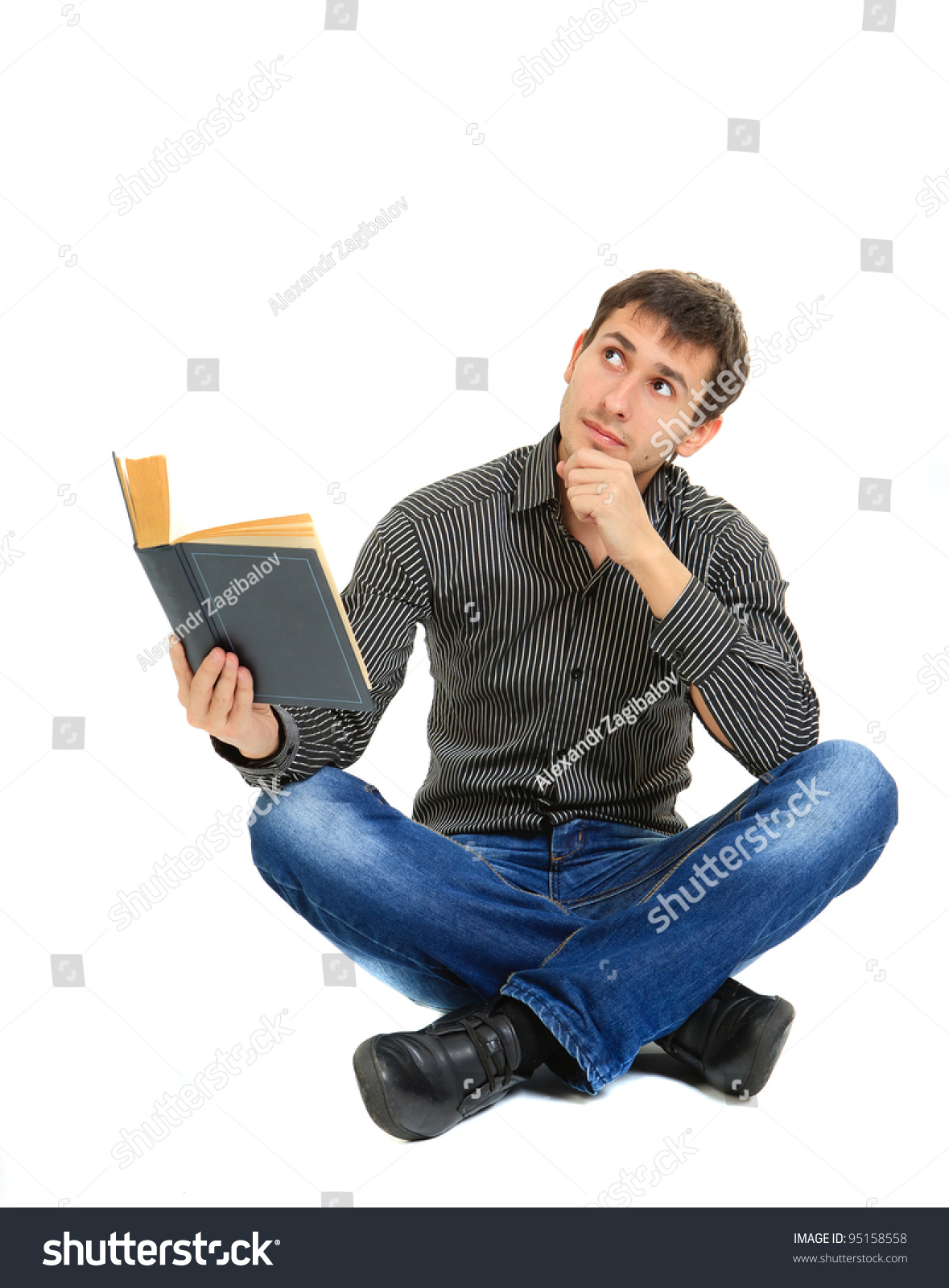 Young Student Reading Book Sitting On Stock Photo Edit Now