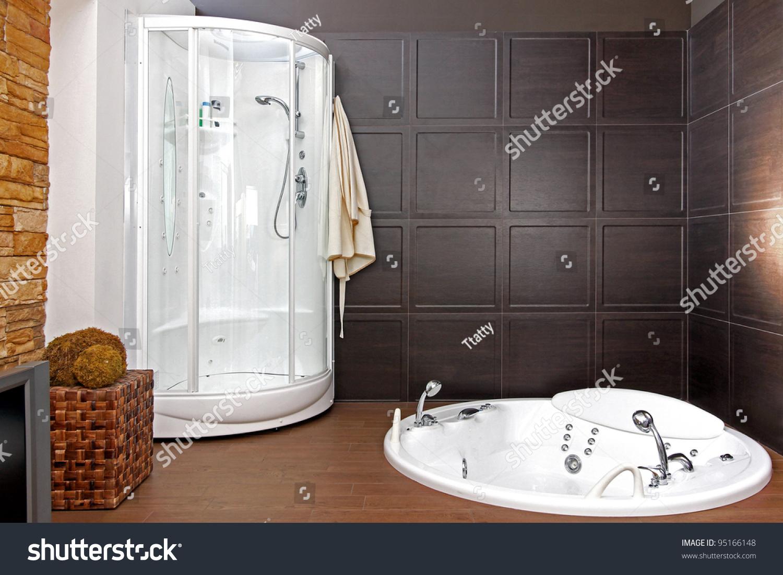 Save to a lightbox. Modern Bathroom Interior With Hydro Massage Bathtub And Shower