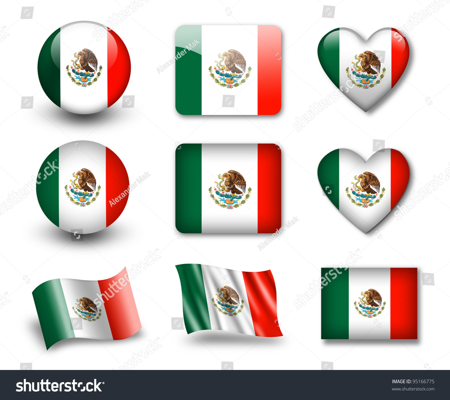 mexican flag set icons flags glossy stock illustration 95166775