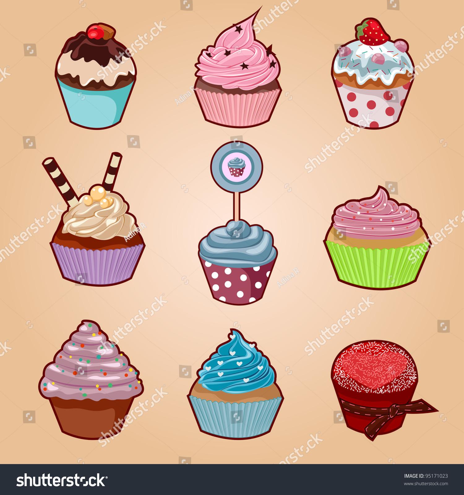 Cupcake Set Cute Cartoon Cupcakes More Stock Vector