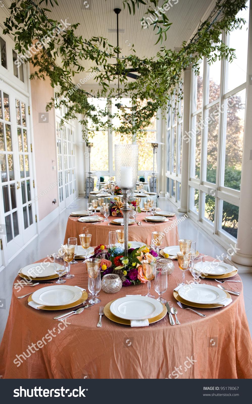 Table Setting Wedding Reception Stock Photo Royalty Free 95178067