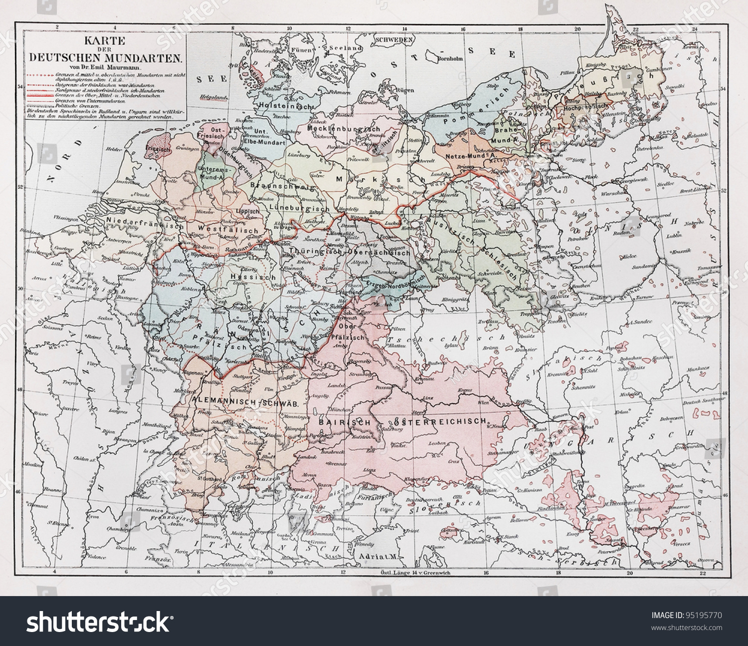 Map Of Germany 1900.Vintage Map Representing German Dialects Year Stock Photo Edit Now