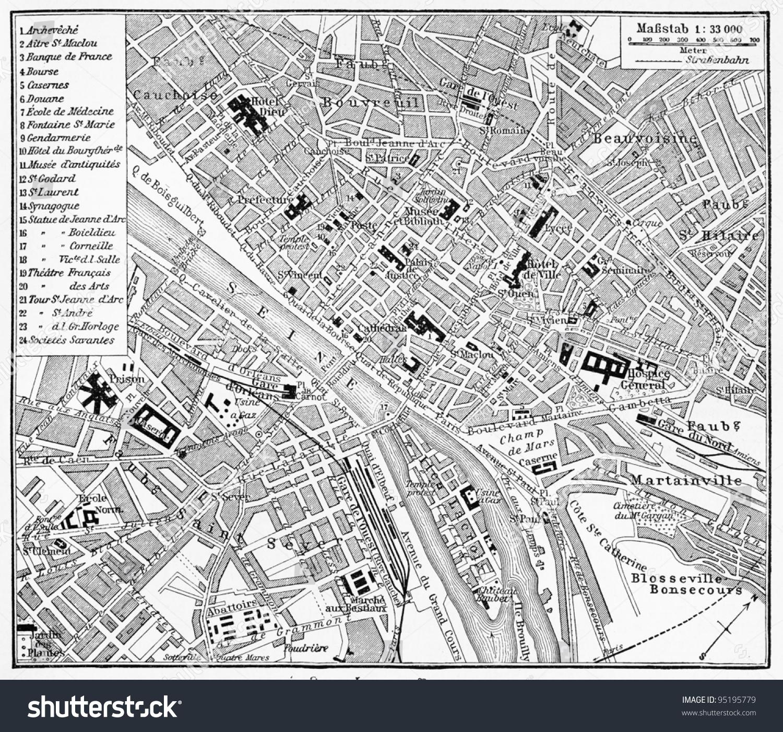 Vintage Map Rouen France End 19th Stock Photo (Edit Now) 95195779 ...