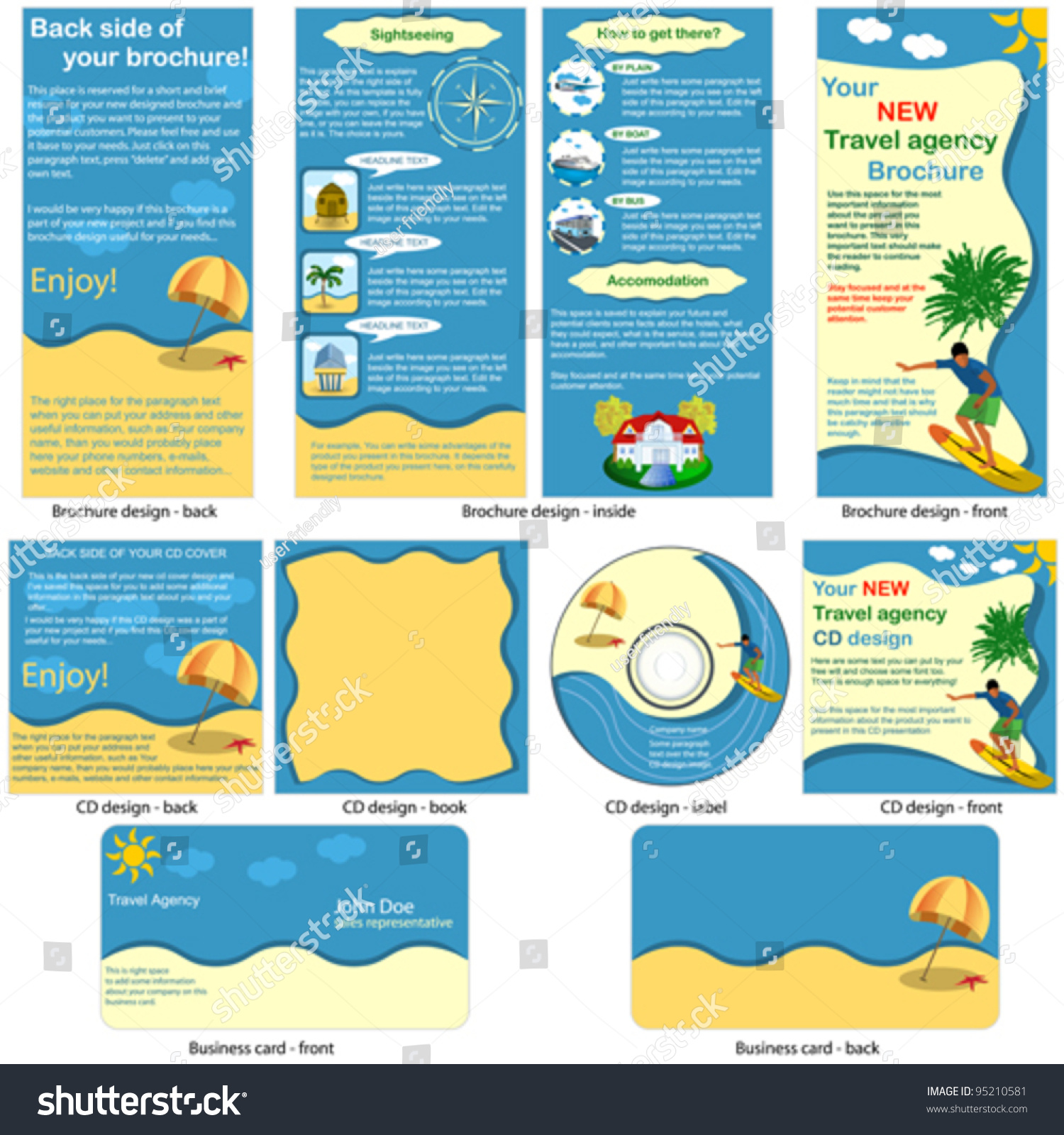 Travel Stationary Template Brochure Design CD Stock Vector 95210581