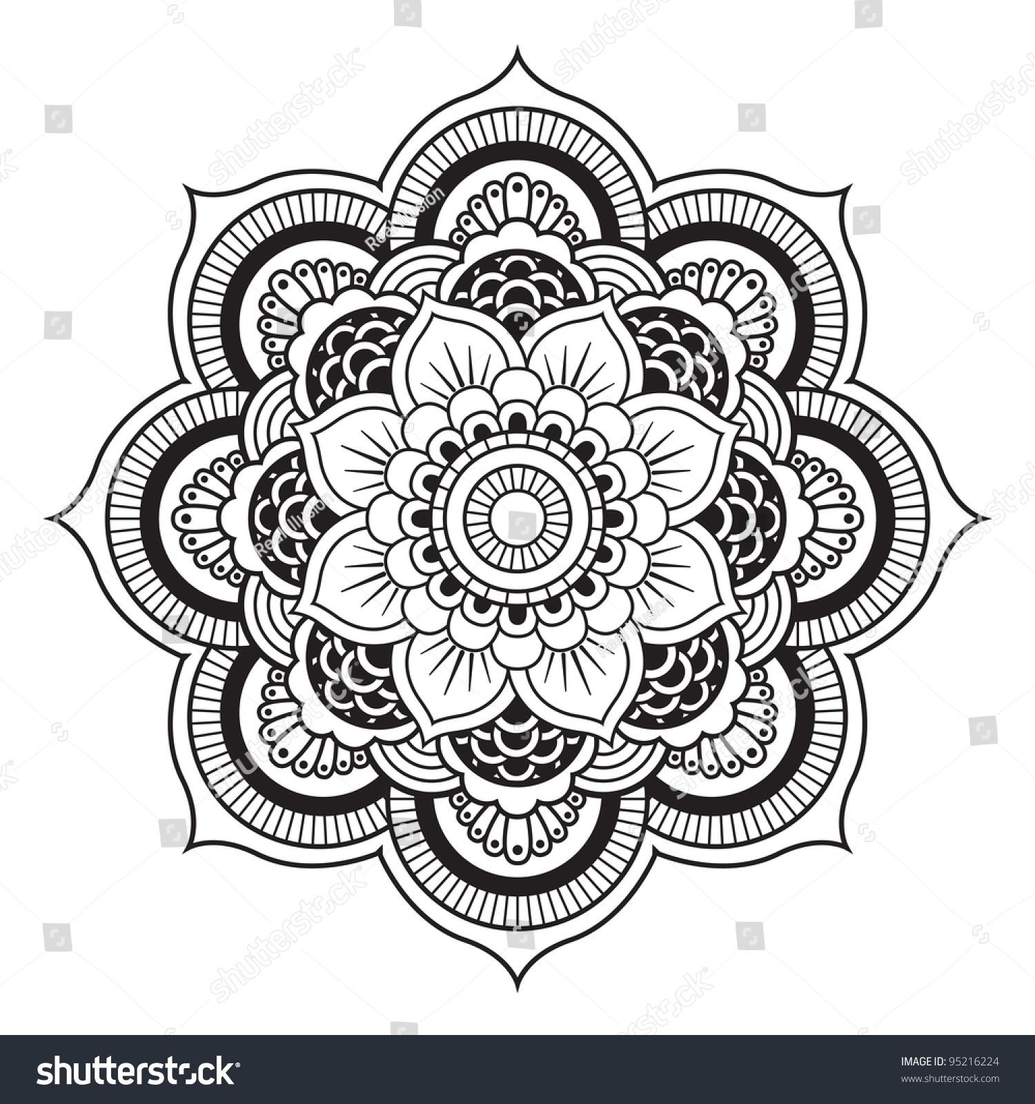 Mandala Round Ornament Pattern Stock Vector 95216224 Shutterstock