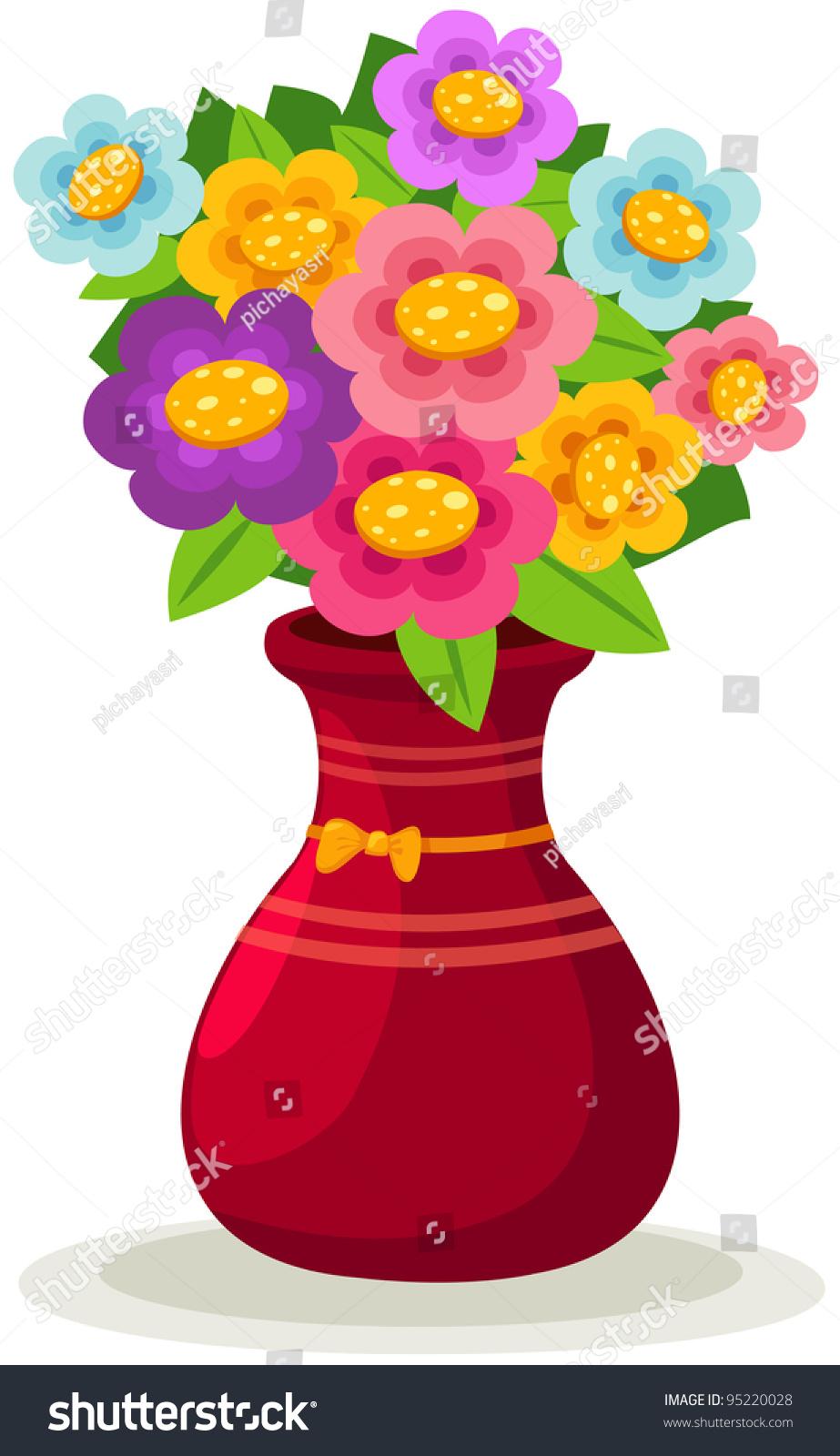 Illustration Isolated Colorful Flowers Vase On Stock Illustration ...