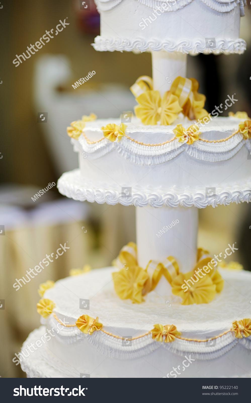 Delicious White Yellow Wedding Cake Stock Photo (Royalty Free ...