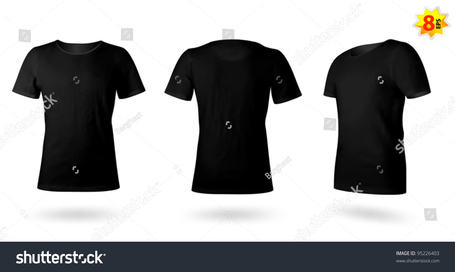 Black t shirt vector template - Royalty Free Black Men T Shirt Template Photo 95226403 Stock