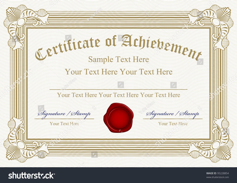 Vector certificate achievement wax seal 95228854 vector certificate of achievement with wax seal yelopaper Images