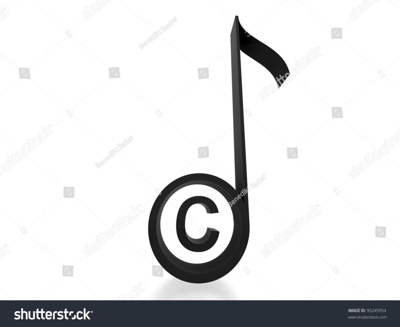3 D Copyright Music Note Black Stock Illustration 95245954