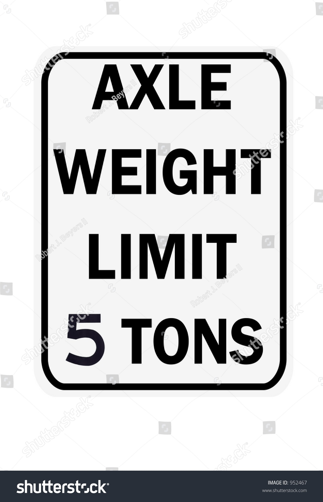 Axle Weight Limits : Axle weight limit tons sign isolated on a white