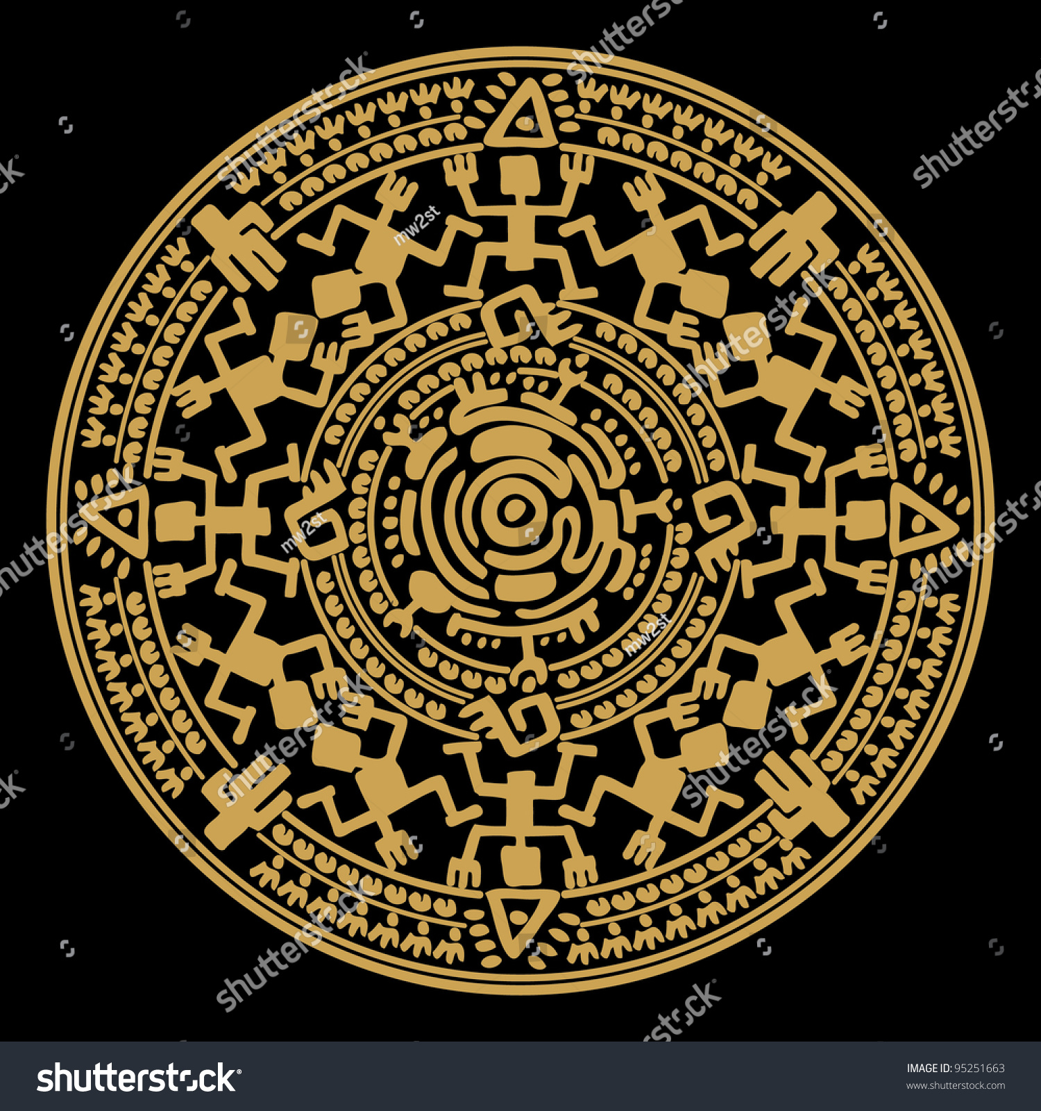 circle reminiscent mayan calendar stock illustration 95251663