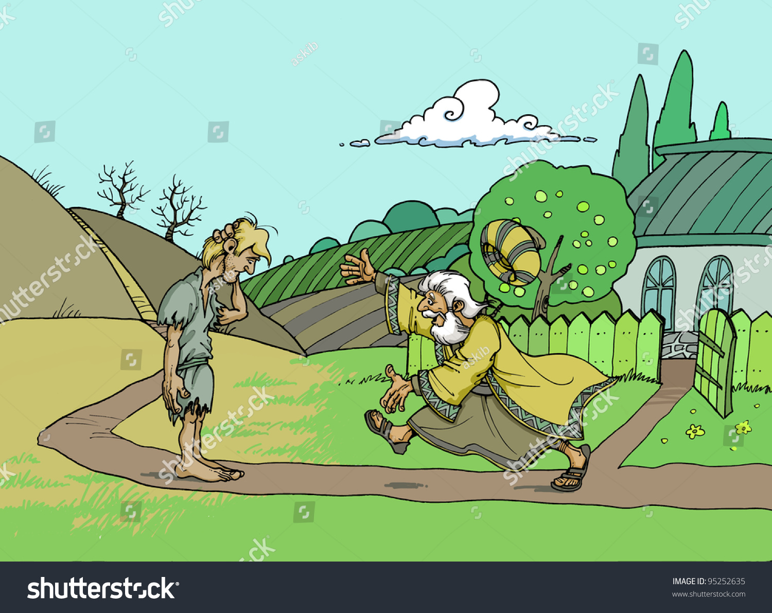 parable about prodigal son loving father stock illustration