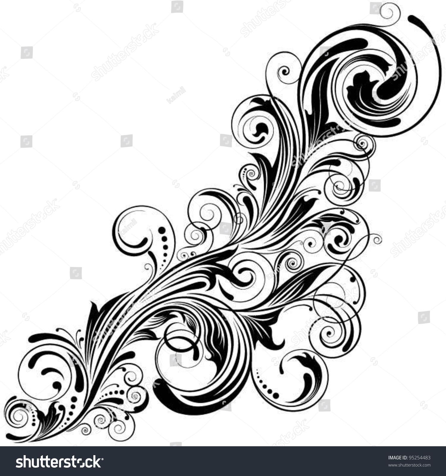swirl corner black designdetailed floral design stock vector 95254483 shutterstock. Black Bedroom Furniture Sets. Home Design Ideas