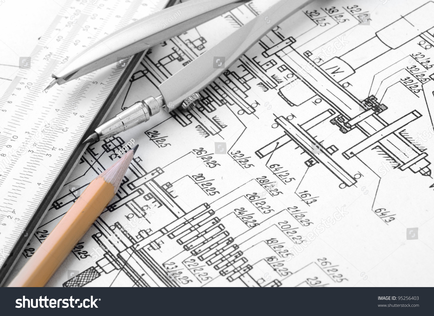 drawing tools. Industrial Drawing Detail Several Tools Stock Photo (Royalty Free) 95256403 - Shutterstock