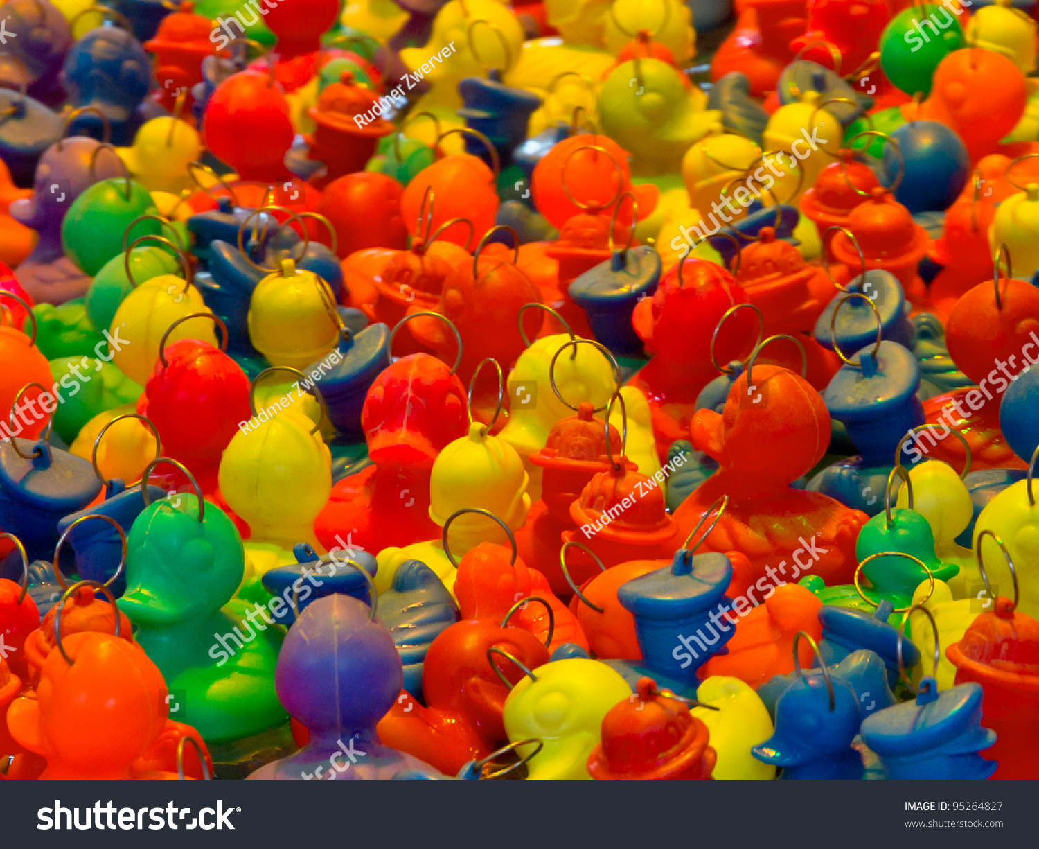 Background of rubber ducks fishing game on an arcade stock for Fishing for ducks