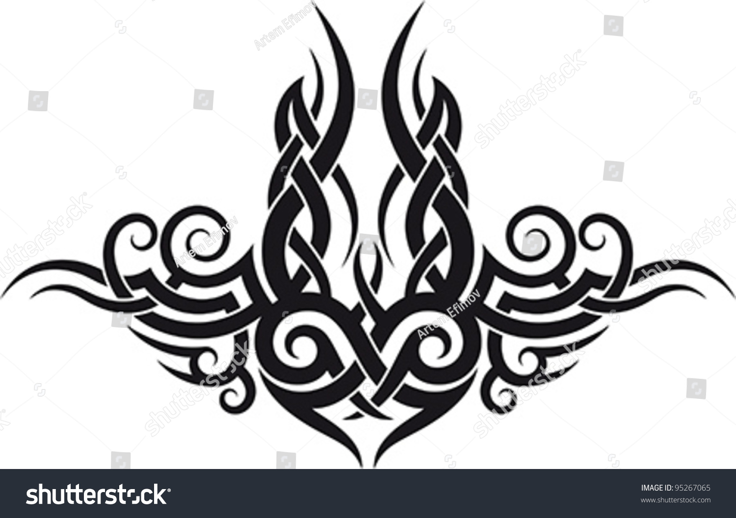 Maori Lower Back Tattoo: Maori Tribal Tattoo Pattern Fit Upper Stock Vector