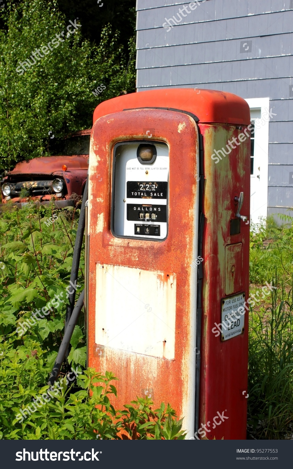 Vintage Gas Pump Truck Abandoned Location Stock Photo ...