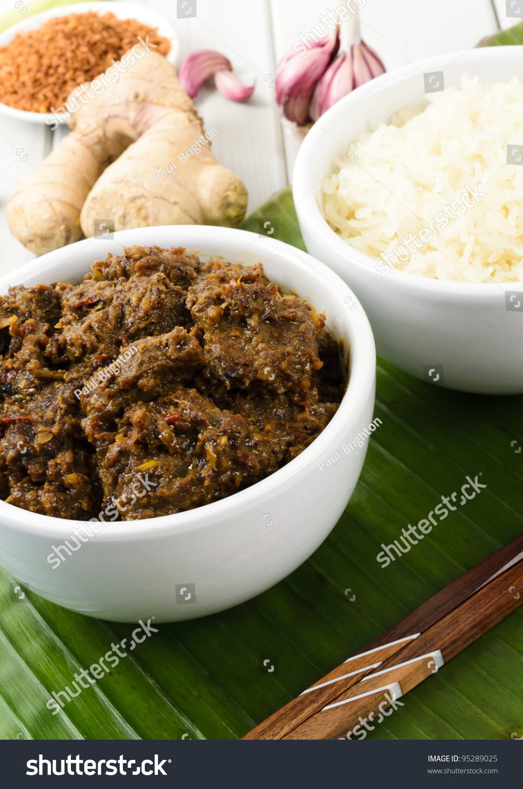 Beef Rendang Sticky Rice Malaysian Indonesian Spicy Dry Beef Stew With Coconut Served