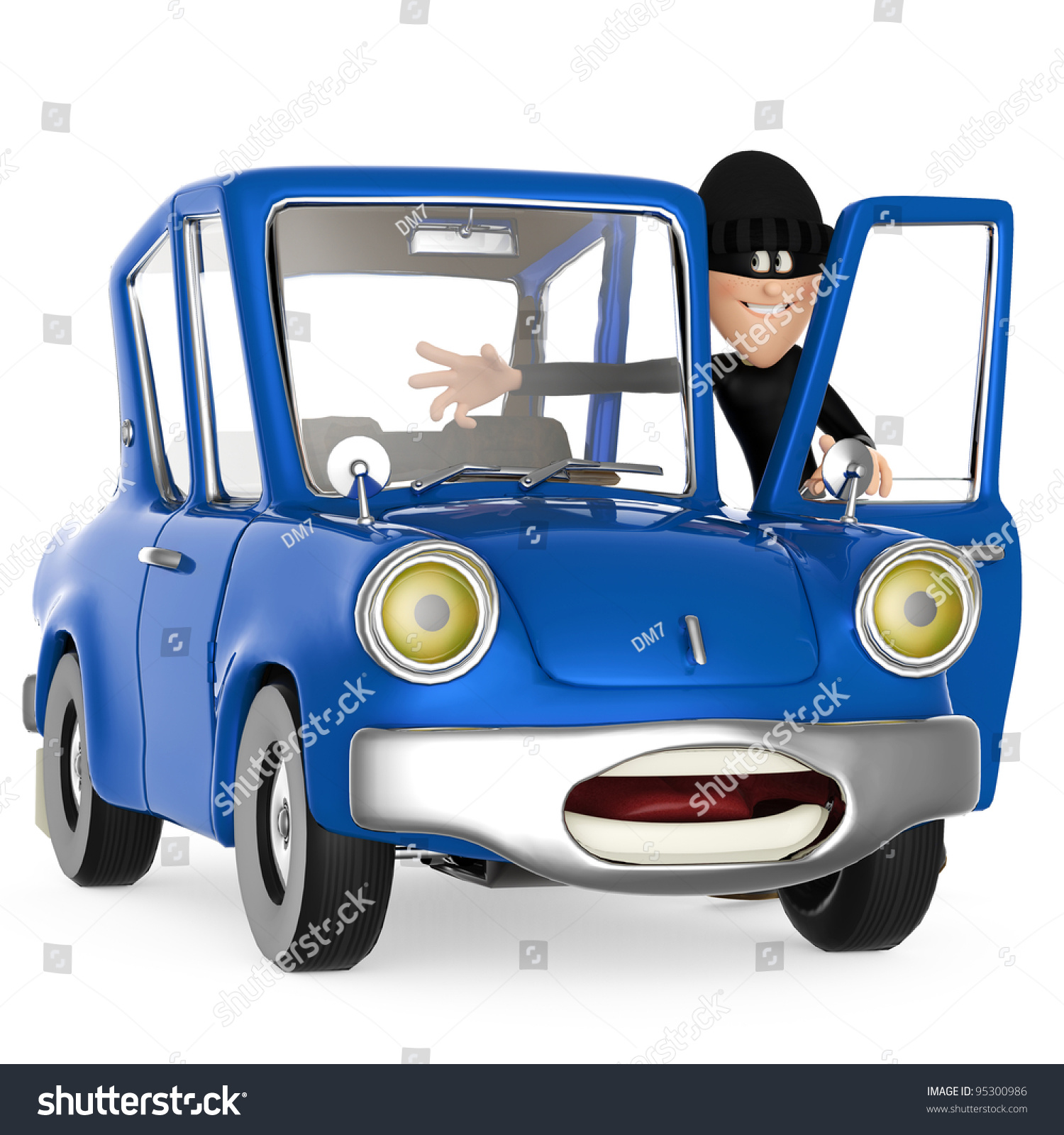 Thief Stealing Car Stock Illustration 95300986