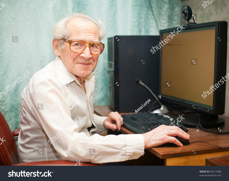 Smiling Happy Old Man Sitting Near Stock Photo 95311888