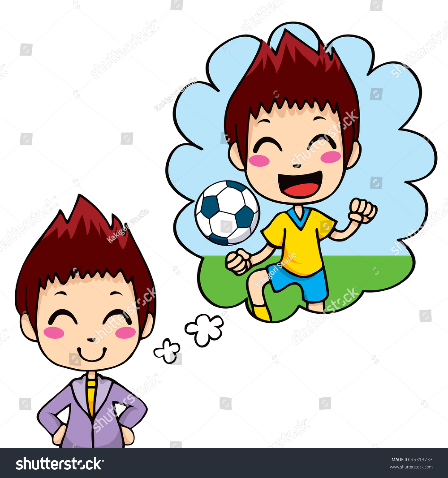 cute little boy dreaming being professional stock vector  cute little boy dreaming being a professional soccer team player