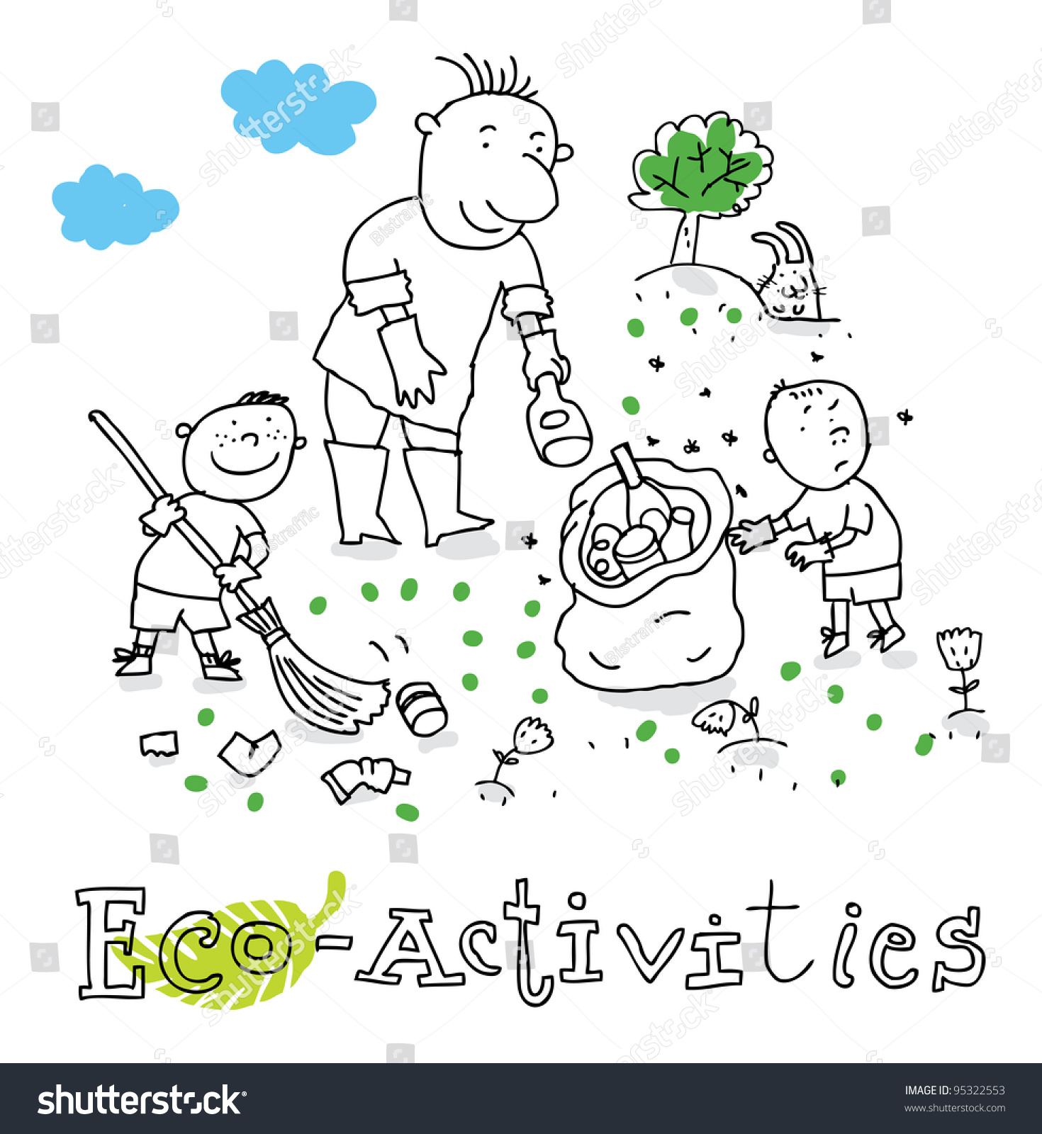 Environmental coloring activities - Eco Activities Ecology And Environment Protection Vector Drawing Isolated On Background