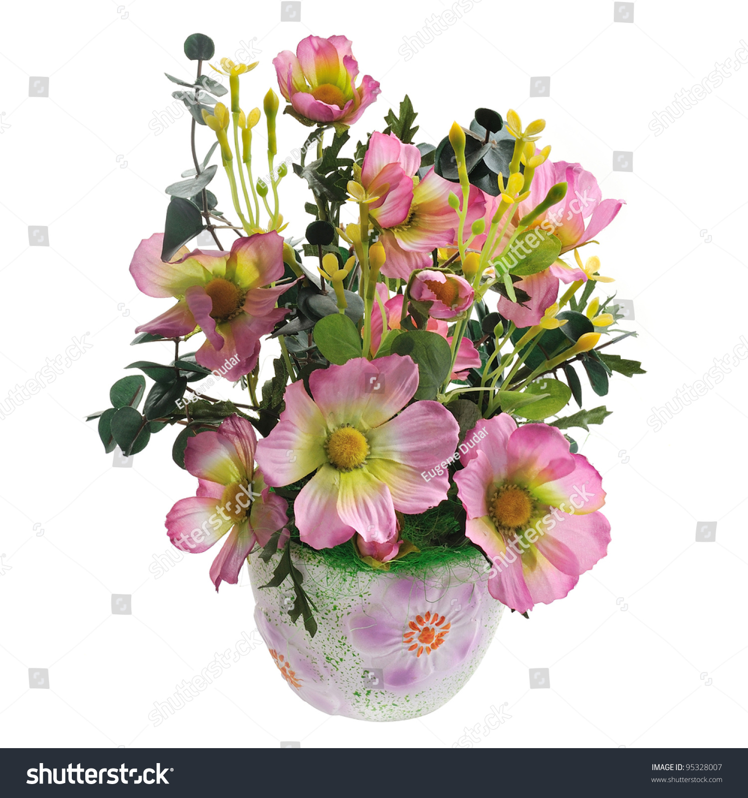 Flower Pots With Artificial Flowers Stock Photo Ceramic Flowerpot With Artificial Flowers