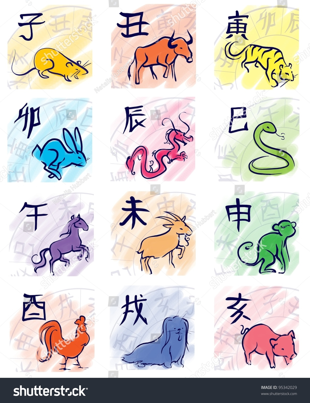 Chinese Zodiac Symbols Eastern Calendar Signs Stock Illustration