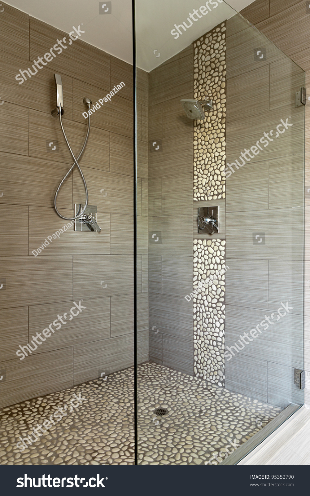 Contemporary bathroom shower dual shower heads stock photo 95352790 shutterstock - Glass shower head ...