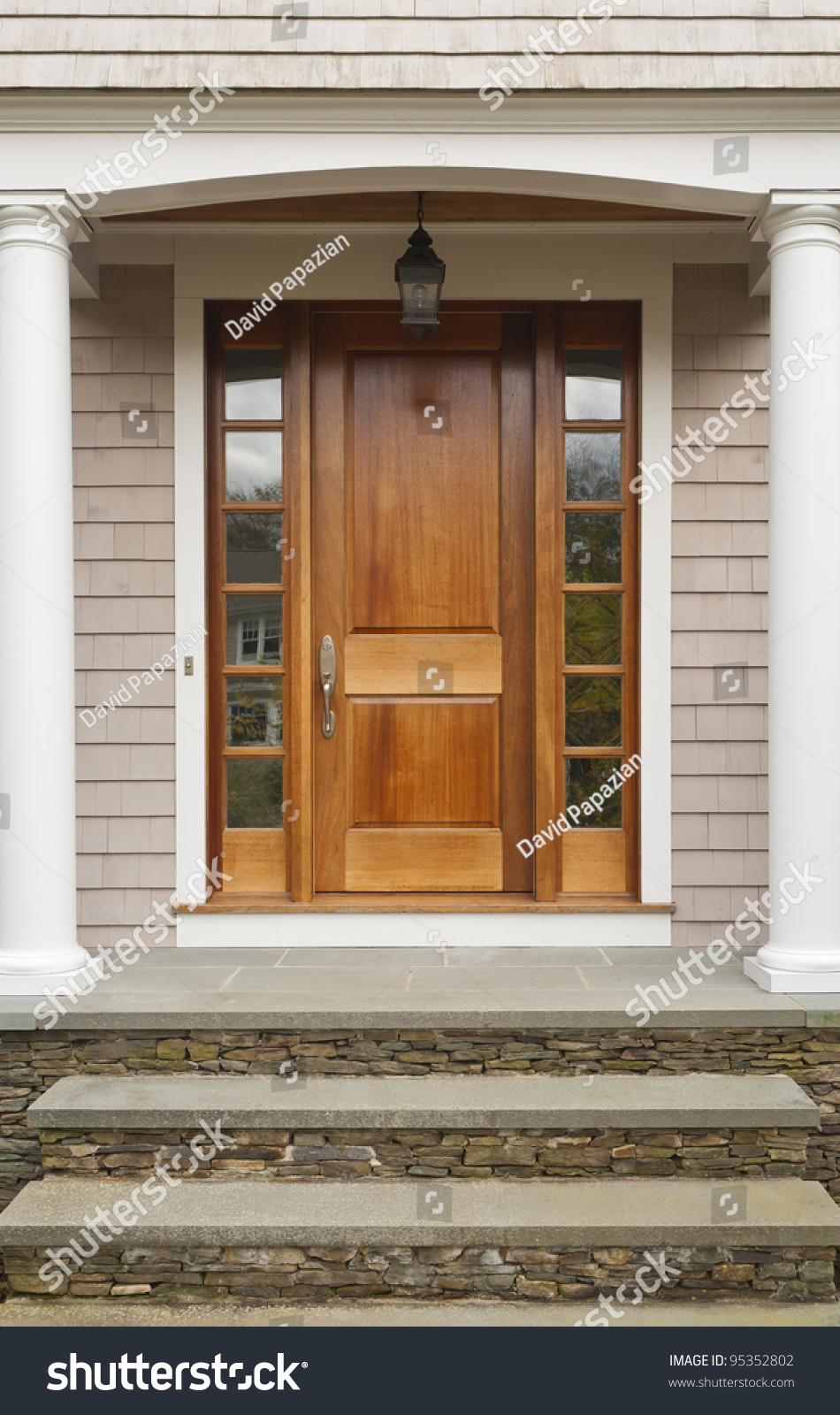 Wooden Front Door Showing Pillars Arch Stock Photo