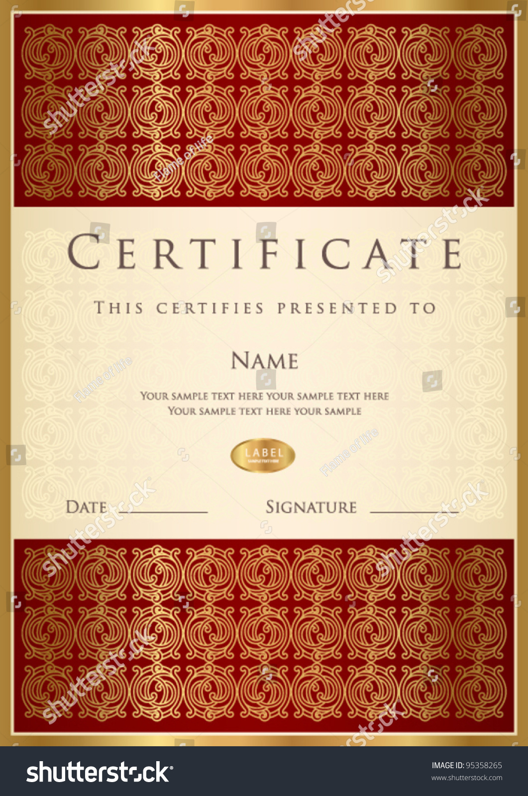 vertical red certificate of completion template with