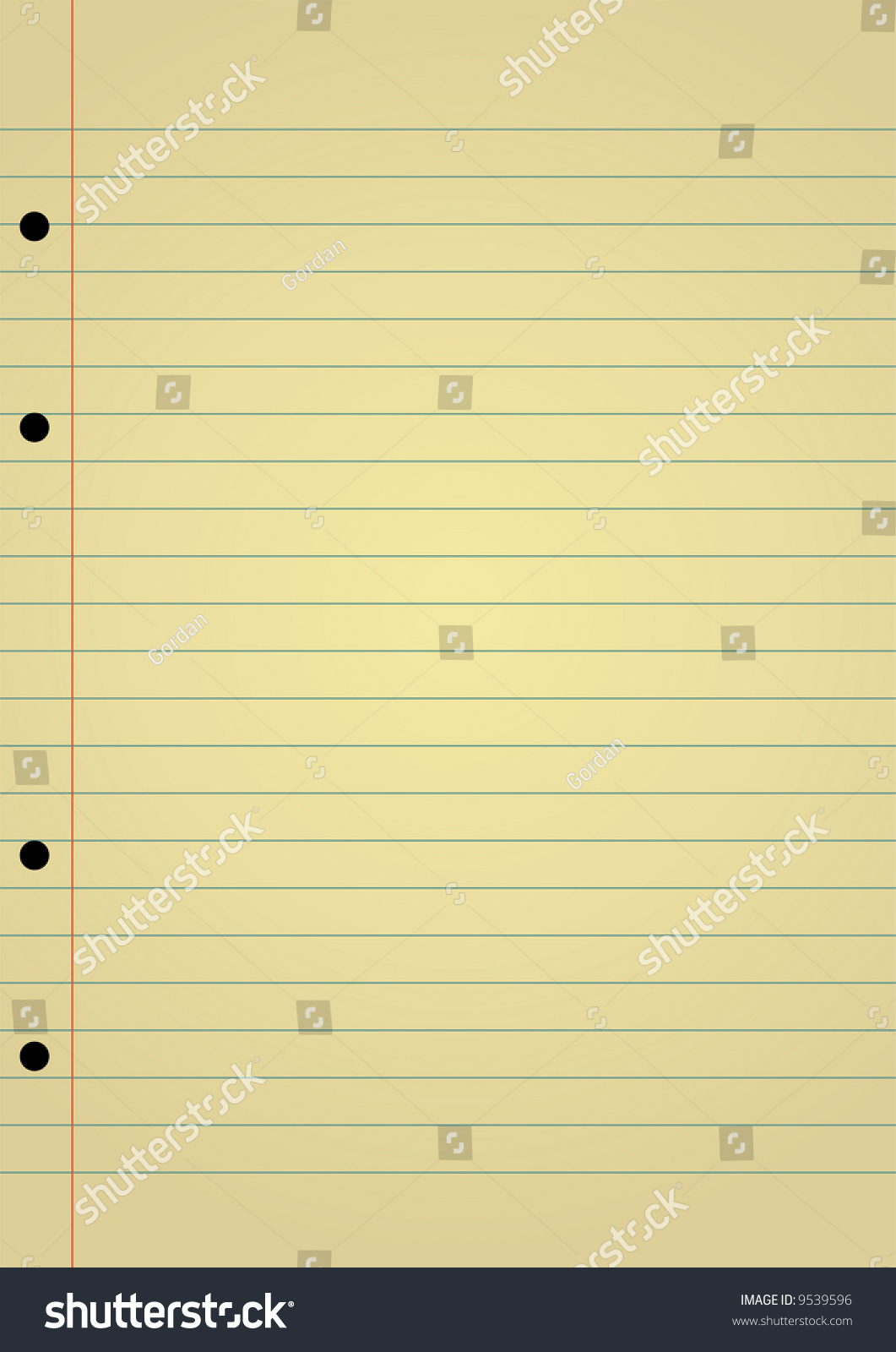 Editable Vector Background Yellow Notebook Paper Stock Vector