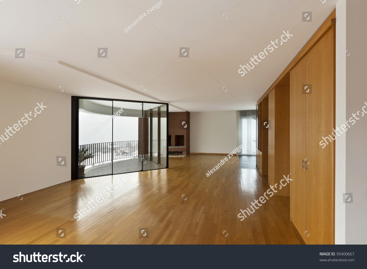 Beautiful apartment interior big empty room stock photo Beautiful apartment interiors