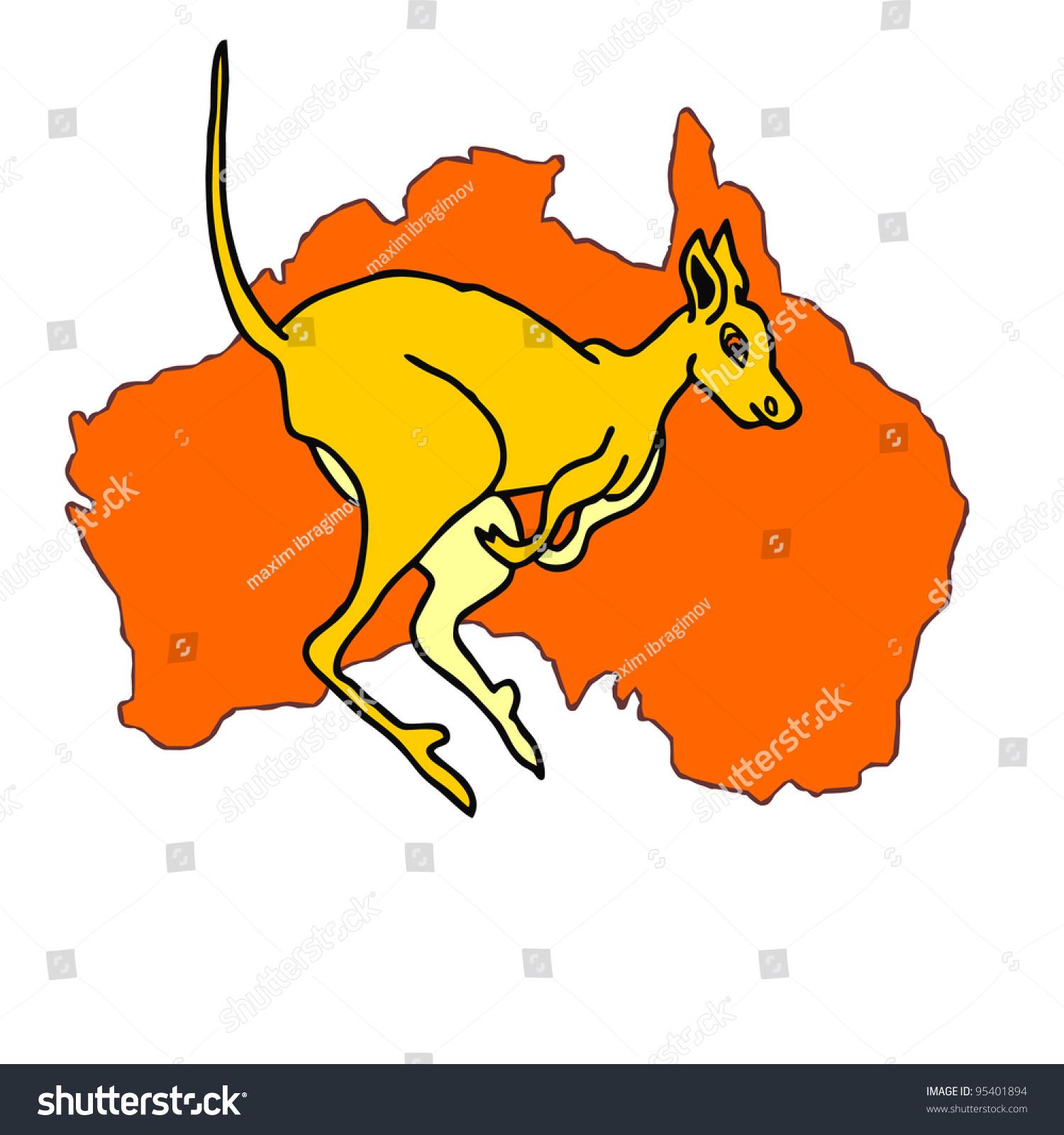 Kangaroo Cartoon Australia Map Mainland Stock Vector - Australia map kangaroo