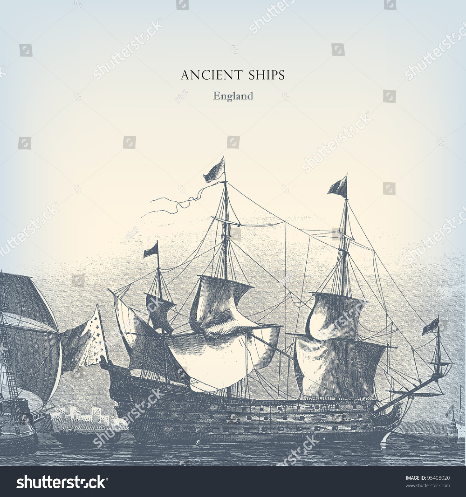 engraving vintage old ships the complete stock vector 95408020