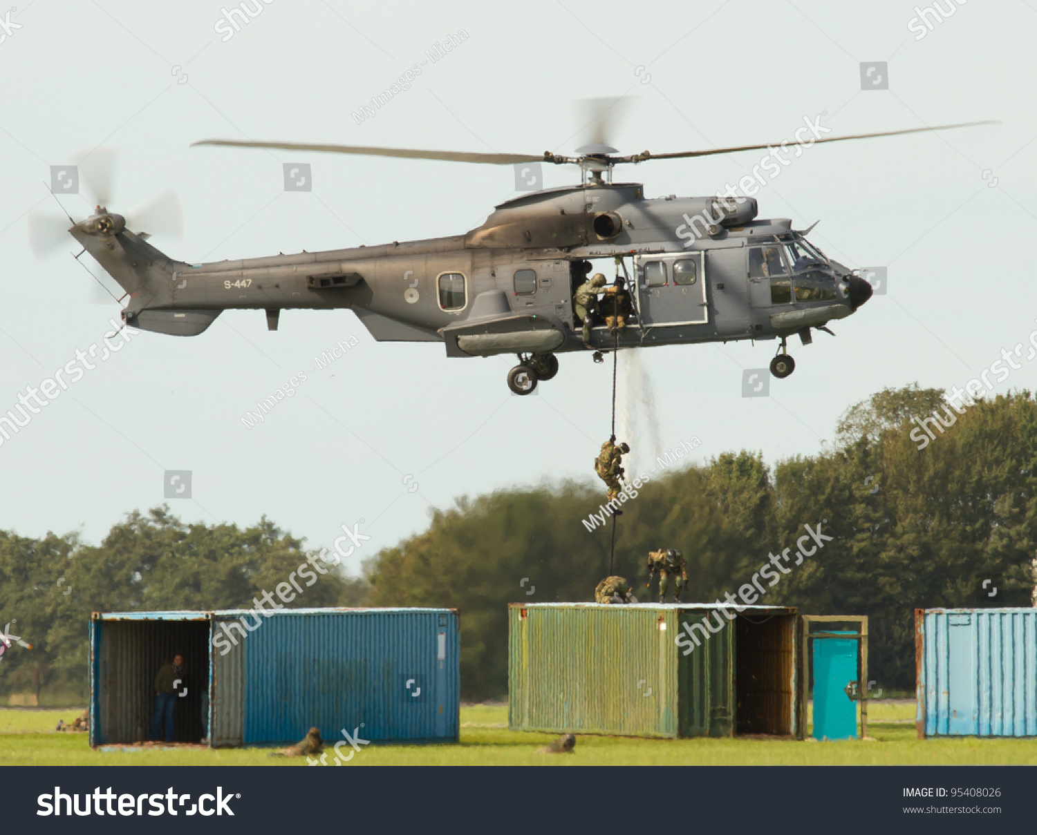 LEEUWARDEN,FRIESLAND,HOLLAND-SEPTEMBER 17: A dutch Cougar helicopter at the  Airshow on September 17, 2011 at Leeuwarden Airfield - Image