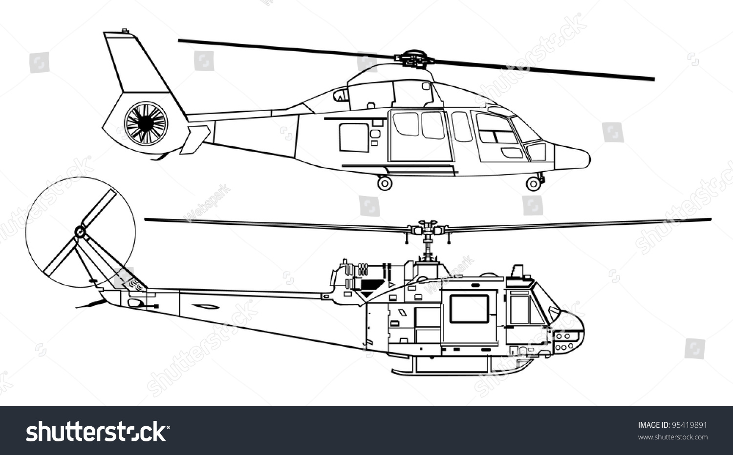 Line Drawing Helicopter : Helicopter line drawing diagram stock vector