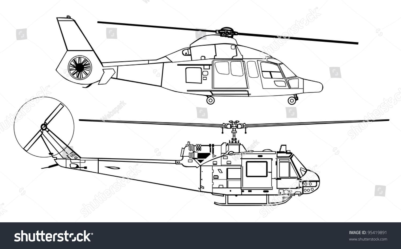 Line Drawing Helicopter : Helicopter line drawing diagram stock vector illustration