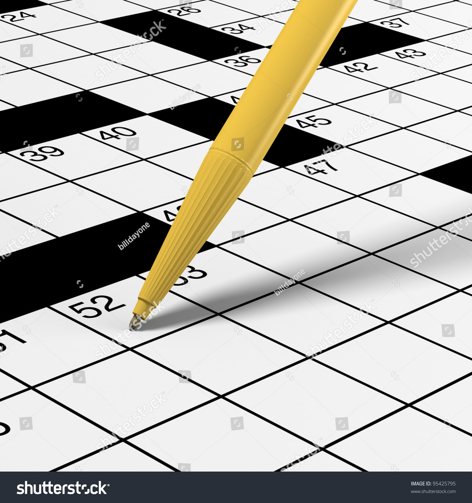 Great Crossword Puzzle Detail With Yellow Ballpoint Pen Ready For Solving