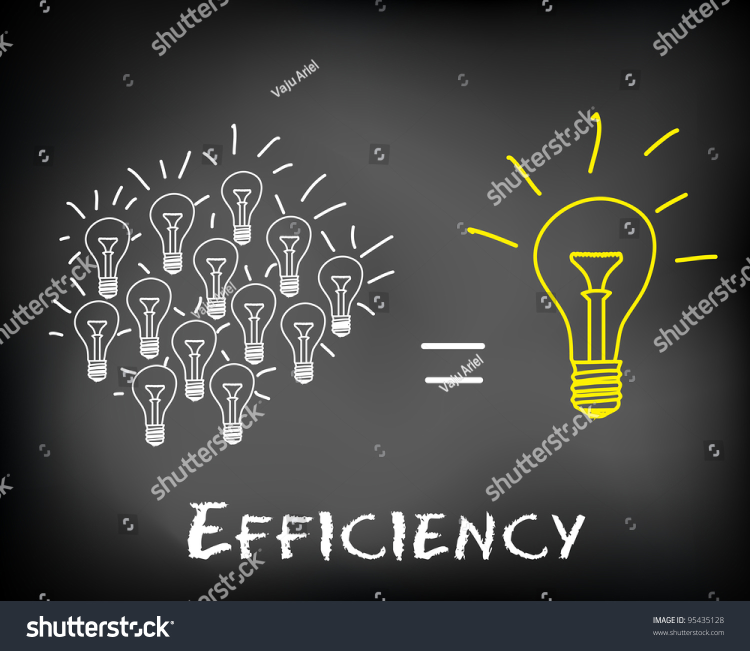 Royalty Free Stock Illustration Of Conceptual Efficiency Teamwork Diagram Incandescent Light Bulb Group Picture Image By Tag Brainstorming Idea On Black Chalkboard With Bulbs