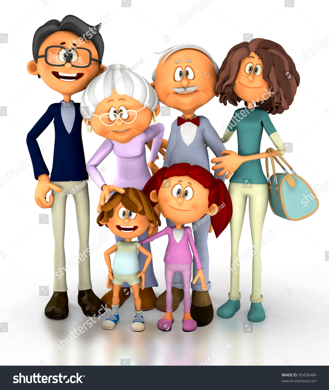 3D  Lolicon young <b>3D</b> family looking happy - isolated over a white background - stock photo